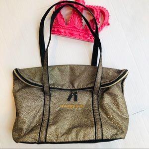 Victoria Secret Gold & Black Sparkle Tote Bag